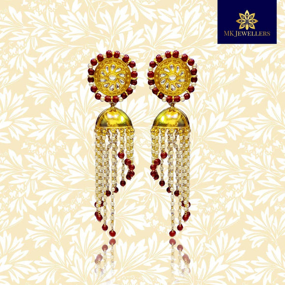 Traditional Meenakari Jhumka Earrings Lotus Design Red