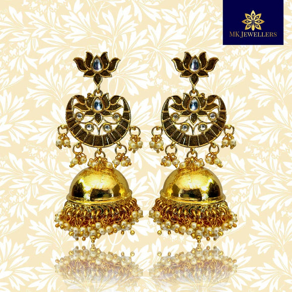 Kundan Meena Floral Latkan Earrings Gold Plated Pearl Drop Earrings