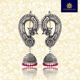 Silver Oxidized Ear Cuff Jhumki Earrings For Women And Girls