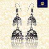 Oxidized Silver Antique Double-Decker Jhumki Earring For Women