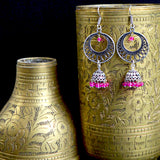 German Silver Oxidized Chandbali Jhumki Earrings With Pink Pearls For Women