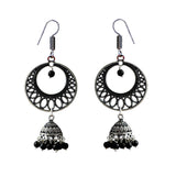 German Silver Oxidized Chandbali Jhumki Earrings With Black Pearls For Women