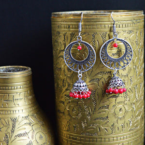 German Silver Oxidized Chandbali Jhumki Earrings With Red Pearls For Women