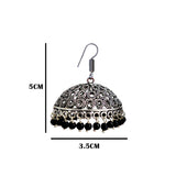 Traditional Silver Oxidized and Black Pearl Bali Jhumki Earrings
