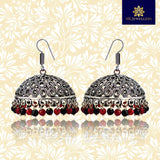 Traditional Silver Oxidized and Red Black Pearl Bali Jhumki Earrings