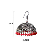 Traditional Silver Oxidized and Cherry Red Pearl Bali Jhumki Earrings