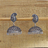 Traditional Silver Plated Oxidized Jhumki Earrings For Women And Girls