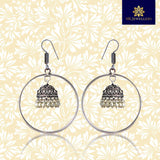 German Silver Oxidised Ring Bali Jhumki Earrings With White Pearls For Women