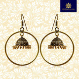Circular Hanging Oxidized Silver Ring Bali Jhumki Earrings With Golden Pearls