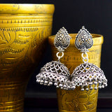 German Silver Oxidized Air Gap Jhumki Earrings