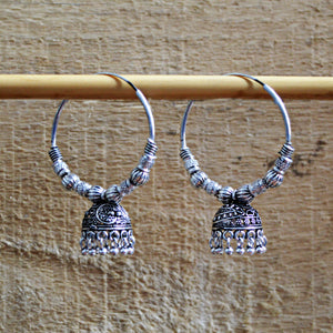 Oxidized Silver Ethnic Statement Hoop with Jhumki Earrings For Girls And Women