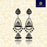 Lightweight Silver Oxidized Bali Jhumki Earring With Black Beads