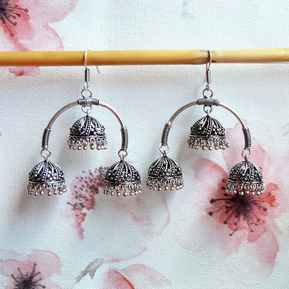 Designer Oxidized Silver Triple Jhumka/Jhumki Earring For Women