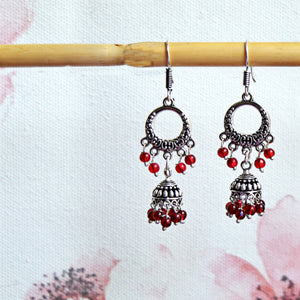 Stylish Maroon Beaded Chandbali Earrings For Girls And Women