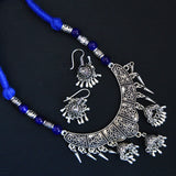 Latest Collection Of Blue Thread Silver Oxidized Necklace, Sleek Style Vintage Collection For Women/Girls