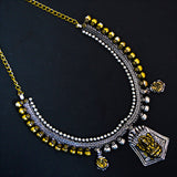 Stylish Oxidised Silver And Golden Double Toned Temple design Jewellery Necklace Earring