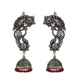 Silver Plated Oxidized Pink Beaded Jhumki Earrings For Women And Girls