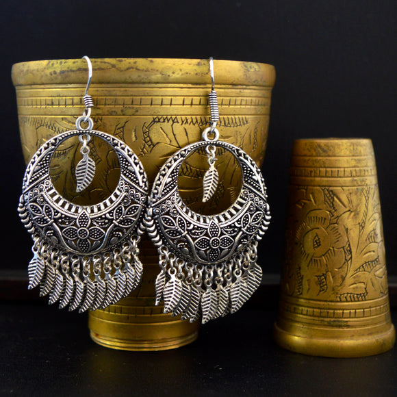 Traditional Silver Oxidized Leaf Style Chandbali Earrings For Women And Girls