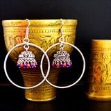 German Silver Oxidised Ring Bali Jhumki Earrings With Red Blue Pearls For Women