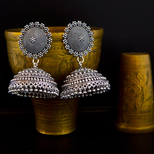 Women's traditional Silver Oxidized Jhumki Earrings