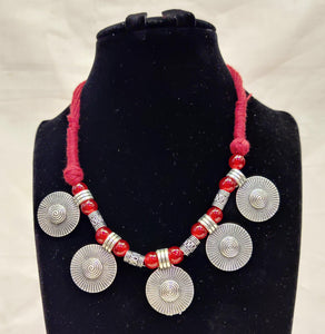 Oxidized Silver Plated Tribal Necklace Jewellery With Red Thread And Pearls