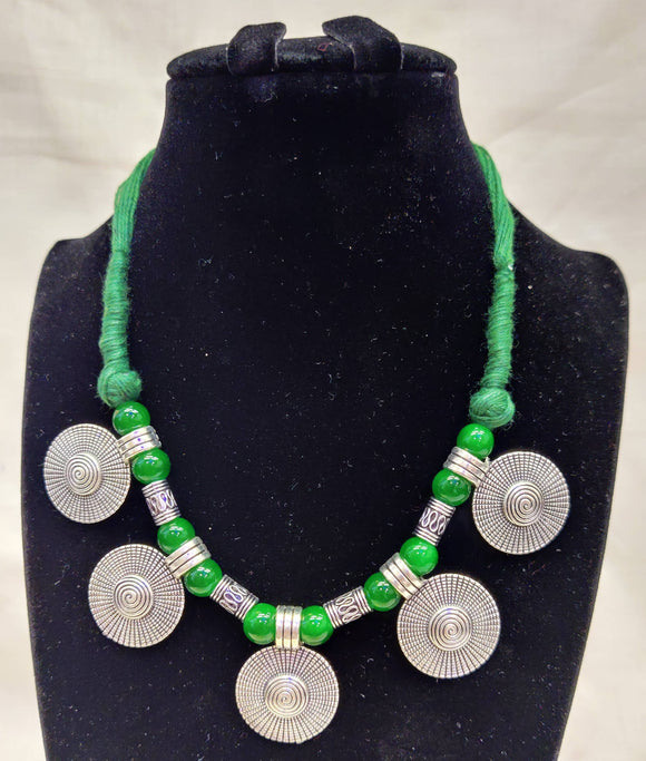 Oxidized Silver Plated Tribal Necklace Jewellery With Green Thread And Pearls