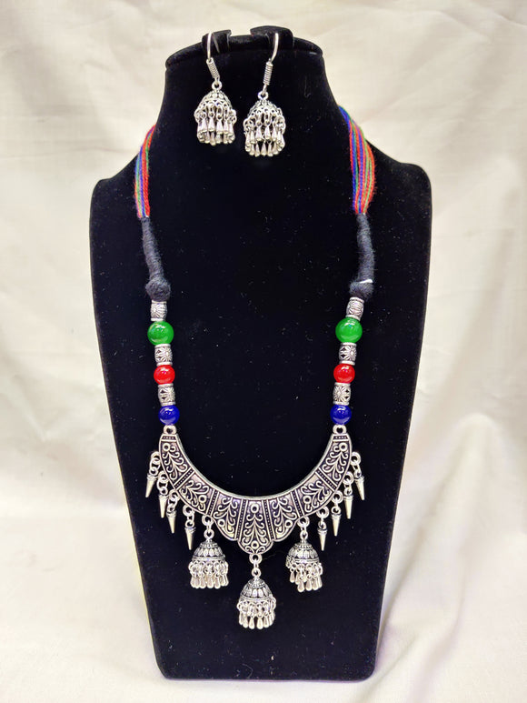 Latest Collection Of Multi Color Thread Silver Oxidized Necklace, Sleek Style Vintage Collection For Women/Girls