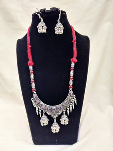 Antique German Silver Oxidised Red Cotton Thread and black pearls Jewellery Necklace for Women