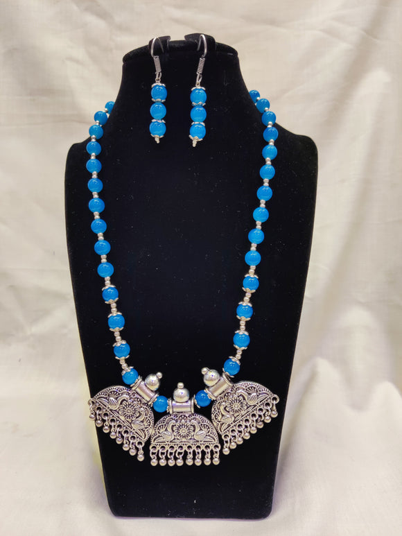 Light Blue Beads Oxidised German Silver Work Necklace For Women And Girls