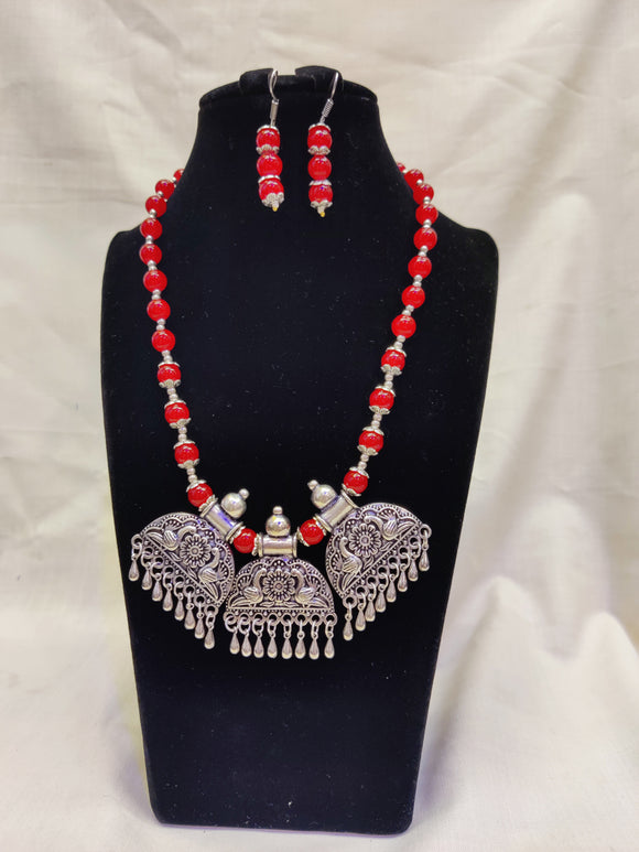 Antique German Silver Oxidized Temple Design Necklace For Women And Girls