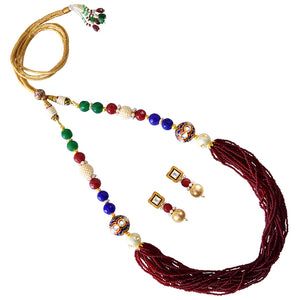 Traditional Mala Necklace Set for Girls Women Maroon Blue