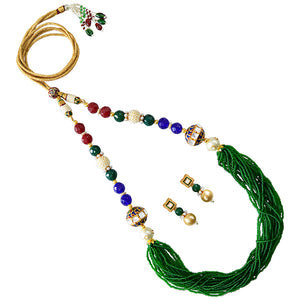 Traditional Mala Necklace Set for Girls Women Green Blue