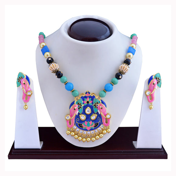 Ethnic Kundan Meena Dual Elephant Necklace Set Pink Mint Green