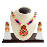 Ethnic Kundan Meenakari Necklace Set Flower Design Pink