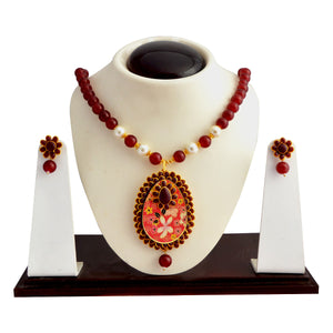 Traditional Pachi Necklace Set for Girls Women Maroon White
