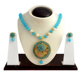 Traditional Pachi Necklace Set for Girls Women Sky Blue