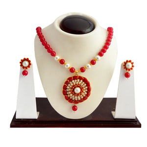 Traditional Pachi Necklace Set for Girls Women Cherry Red