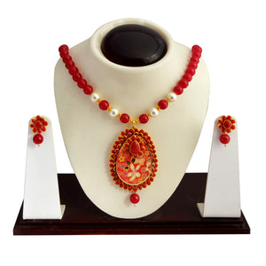 Traditional Pachi Necklace Set for Girls Women Red