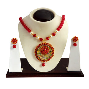 Traditional Pachi Necklace Set for Girls Women Flower Design Red