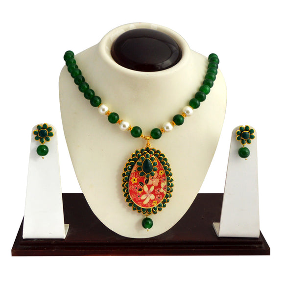 Traditional Pachi Necklace Set for Girls Women Flower Design Green