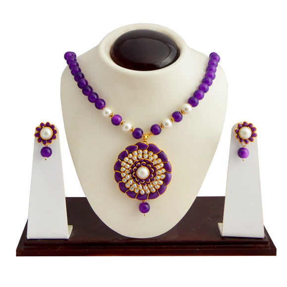 Traditional Pachi Necklace Set for Girls Women Purple