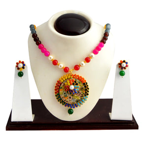 Ethnic Pachi Necklace Set for Girls Women Flower Design Multicolor
