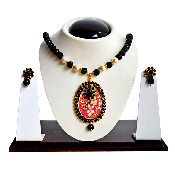 Ethnic Pachi Necklace Set for Girls Women Flower Design Black