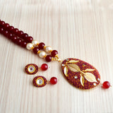Ethnic Kundan Beaded Necklace Set Dual Leaf Design Maroon