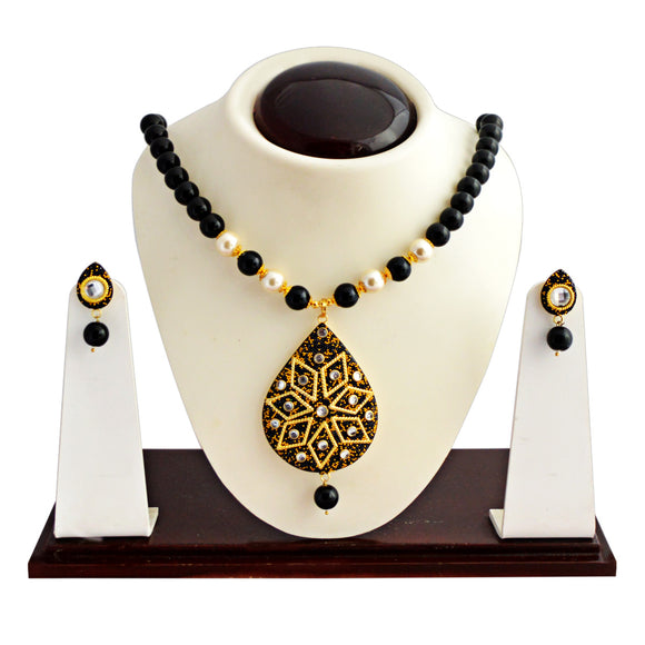 Trendy Kundan Beaded Necklace Set Flower Design Black