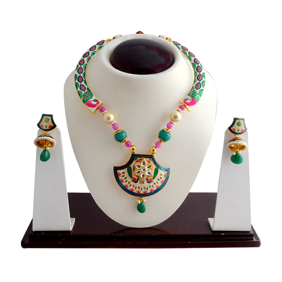 White And Green Wedding Jewellery Kundan Meenakari Necklace Set For Women