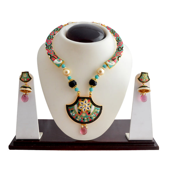Mint Green and Pink Kundan Enameled Meena Kundan Necklace Set For Women