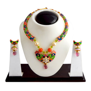 Purple Beads And Floral Kundan Design Meena Kundan Necklace Set For Women