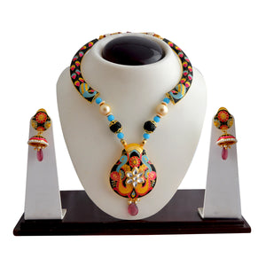 Ethnic Style Yellow And Pink Color Kundan Meenakari Necklace Set For Women