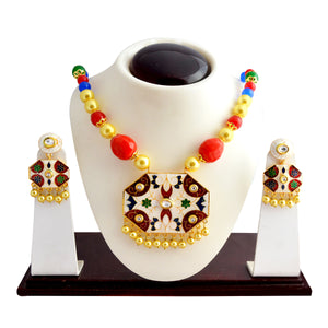 Traditional White Red Kundan Meena Necklace Set With Earrings For Woman